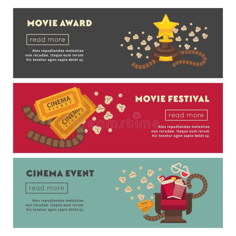 Retro cinema and movie theater posters flat design template. royalty free illustration