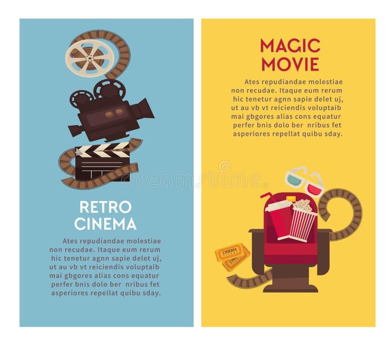 Retro cinema movie theater vector flat poster of popcorn and film video camera vector illustration