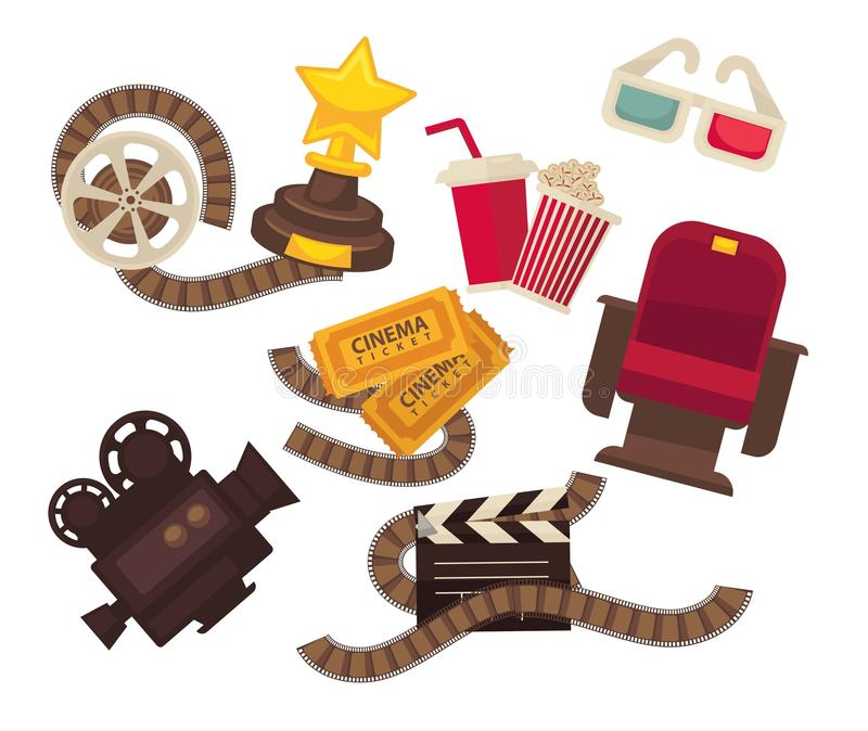 Retro cinema movie theater vector icons movie video film camera, popcorn soda 3d glasses royalty free illustration