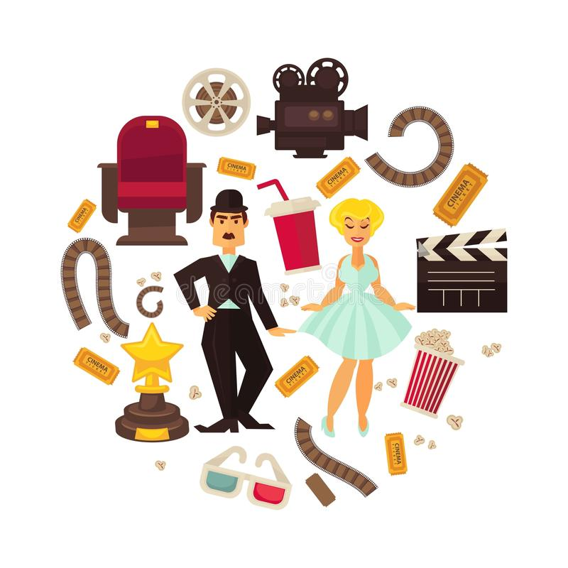 Retro cinema or movie time cinematography poster. royalty free illustration