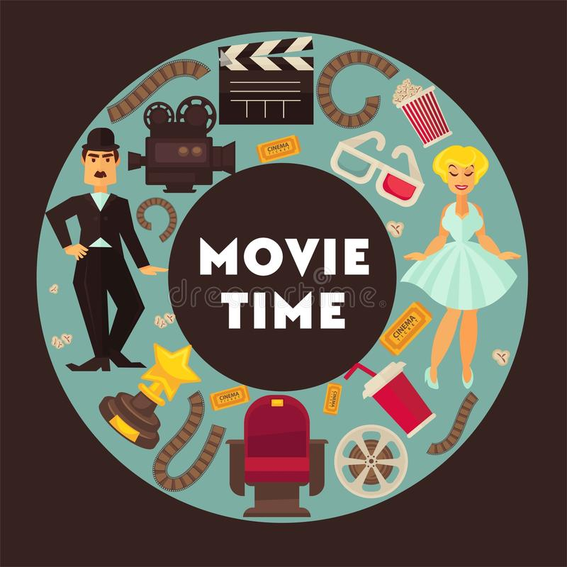 Retro cinema movie time poster vector flat cinematography actors and equipment design template royalty free illustration