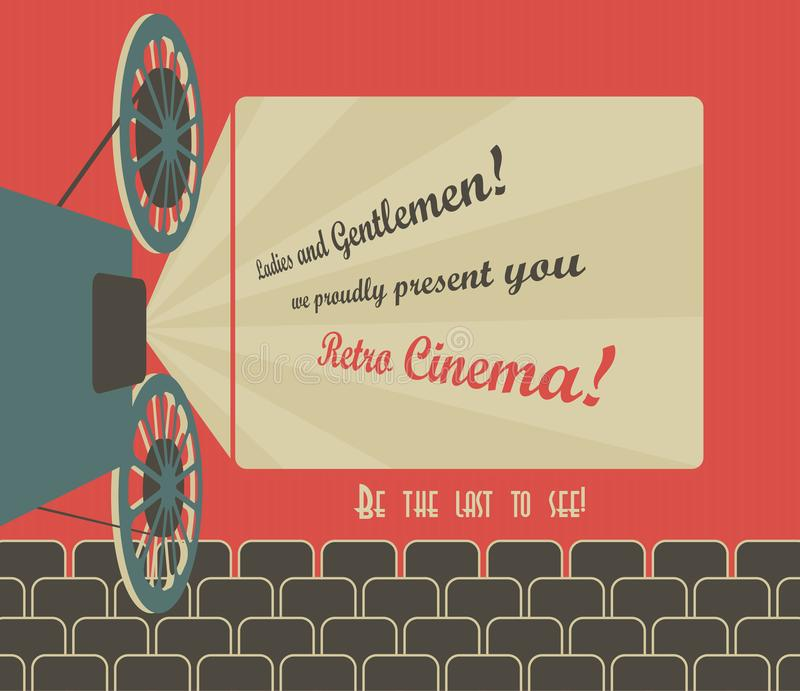 Retro cinema. Old style poster for a retro cinema with a placeholder for your text. Movie hall with a screen and seats. Vector image vector illustration