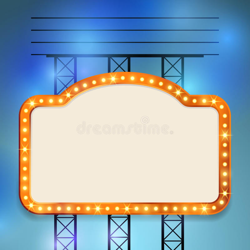 Retro cinema old vintage bulb frame sign. Neon casino show special advert. Vector illustration royalty free illustration
