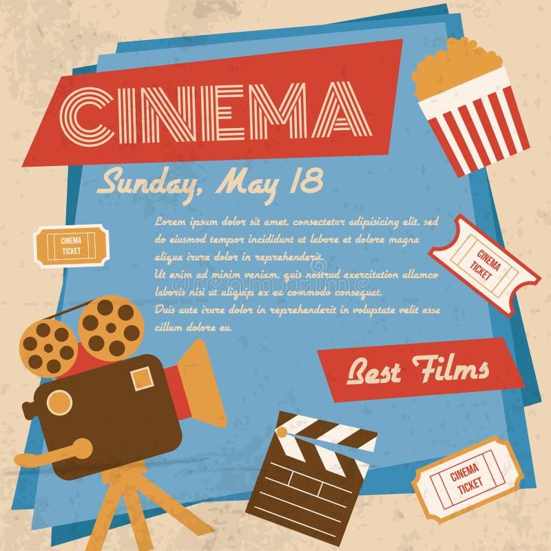 Retro cinema poster. Retro movie cinema vintage best films poster vector illustration stock illustration
