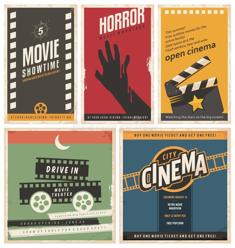 Retro cinema posters and flyers collection stock illustration