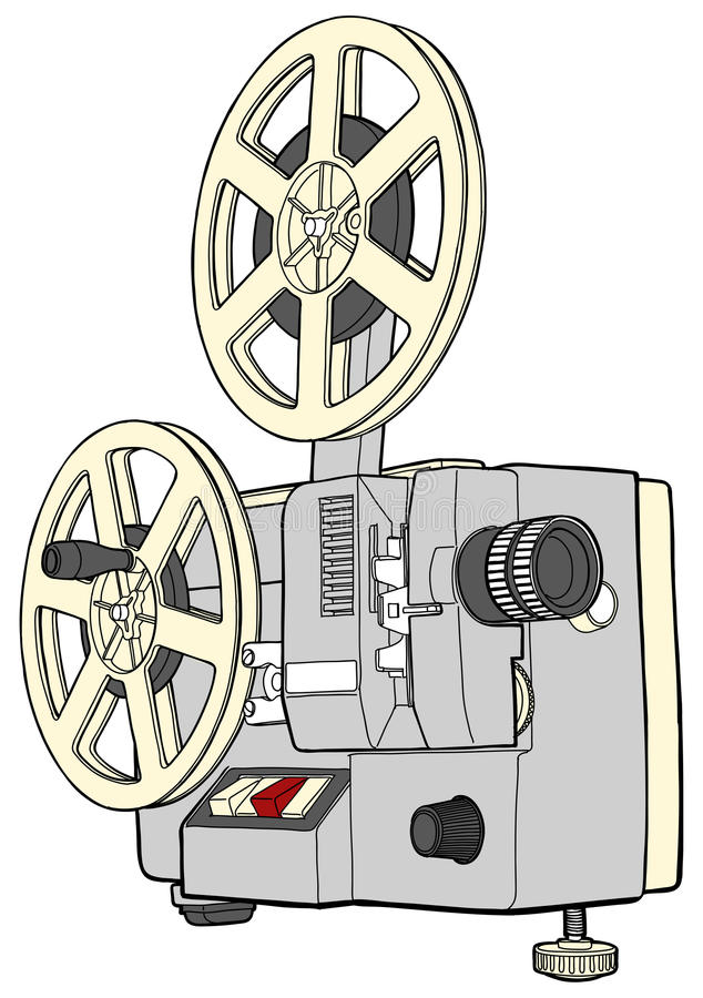 Retro Cinema projector. On white background vector illustration