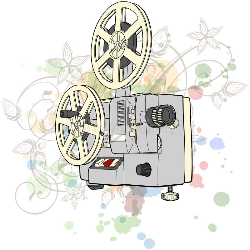 Retro Cinema projector & floral ornament. Retro Cinema projector & floral calligraphy ornament - a stylized orchid, color paint background stock illustration