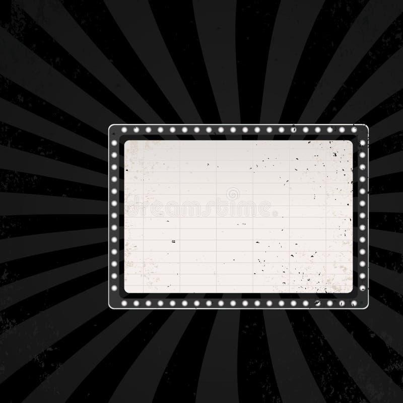 Retro cinema sign. In dark color. vector illustration stock illustration