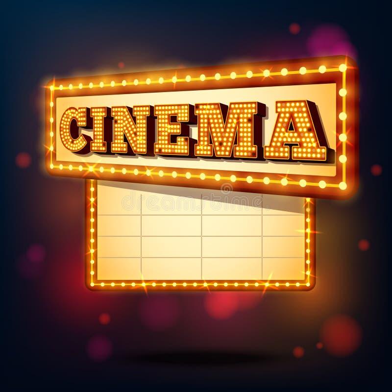 Retro cinema sign. Retro cinema marquee neon lights advertising sign background vector illustration royalty free illustration