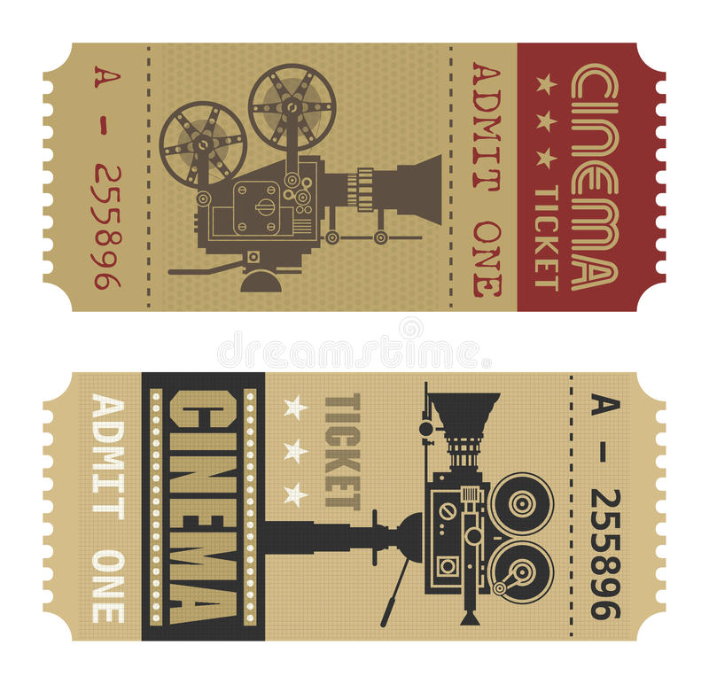Retro cinema ticket royalty free illustration