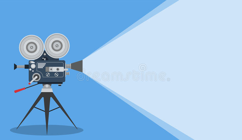 Retro cinema Video Camera. With text place. movie poster, placard banner for film. Vector illustration in flat style stock illustration