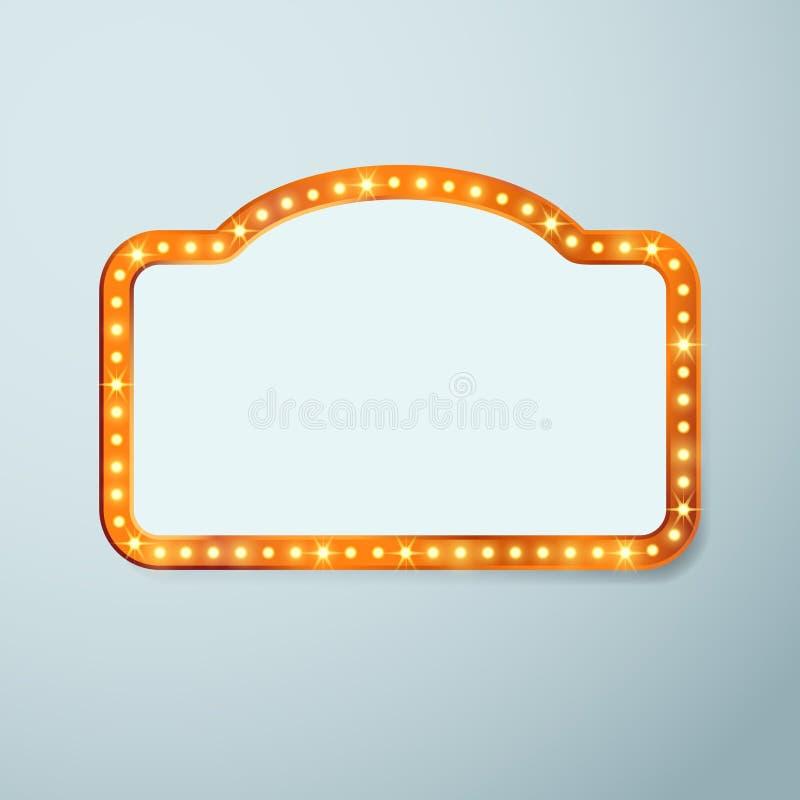 Retro cinema vintage old bulb frame sign. Light theater casino or circus illuminated banner. Vector illustration stock illustration