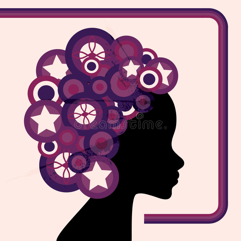 Retro circle woman stock photo