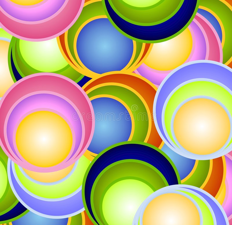 Retro Circles Balls Spheres. A colorful texture pattern background featuring circles, rings, spheres and/or balls casually placed in fun colors vector illustration