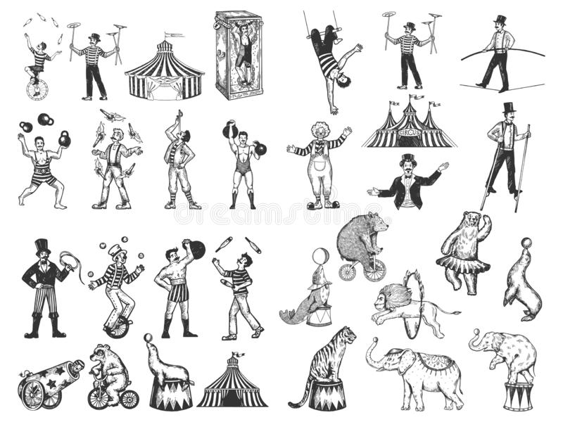 Retro circus performance set sketch vector stock illustration