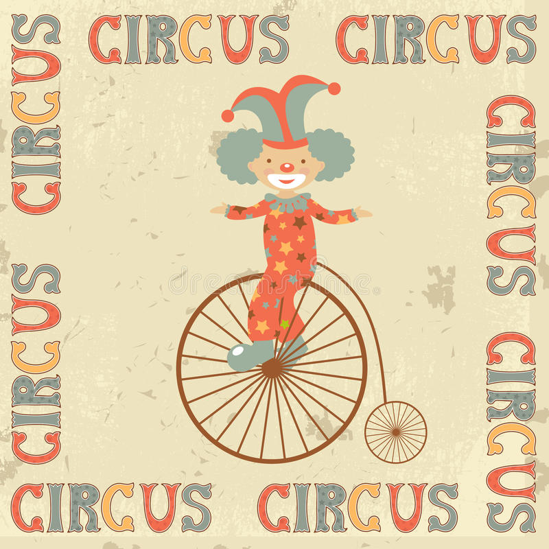 Retro circus poster with clown vector illustration