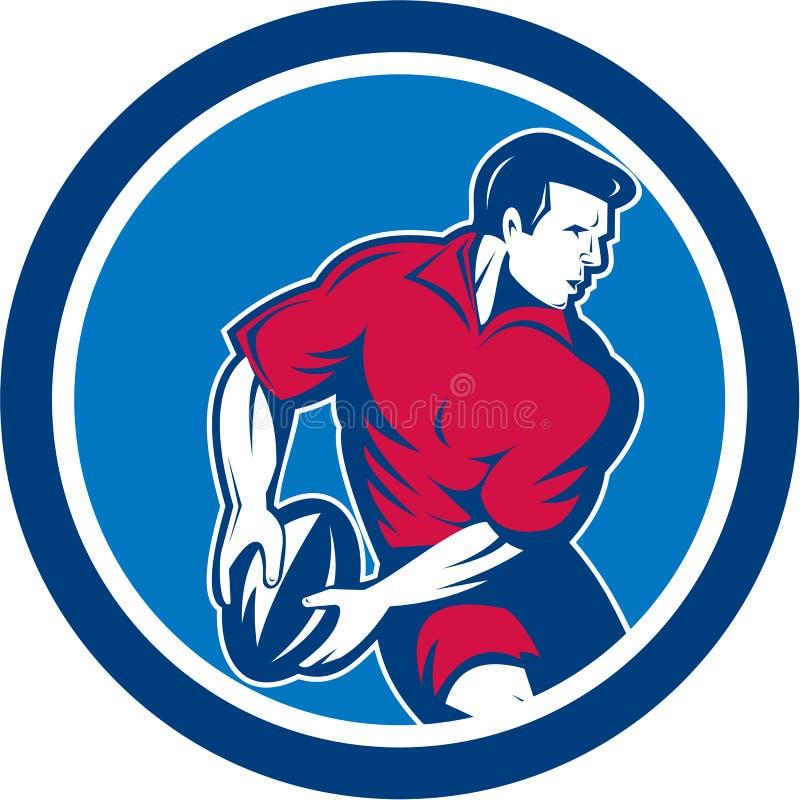 Retro cirkel för boll för rugbyspelarebortgång vektor illustrationer