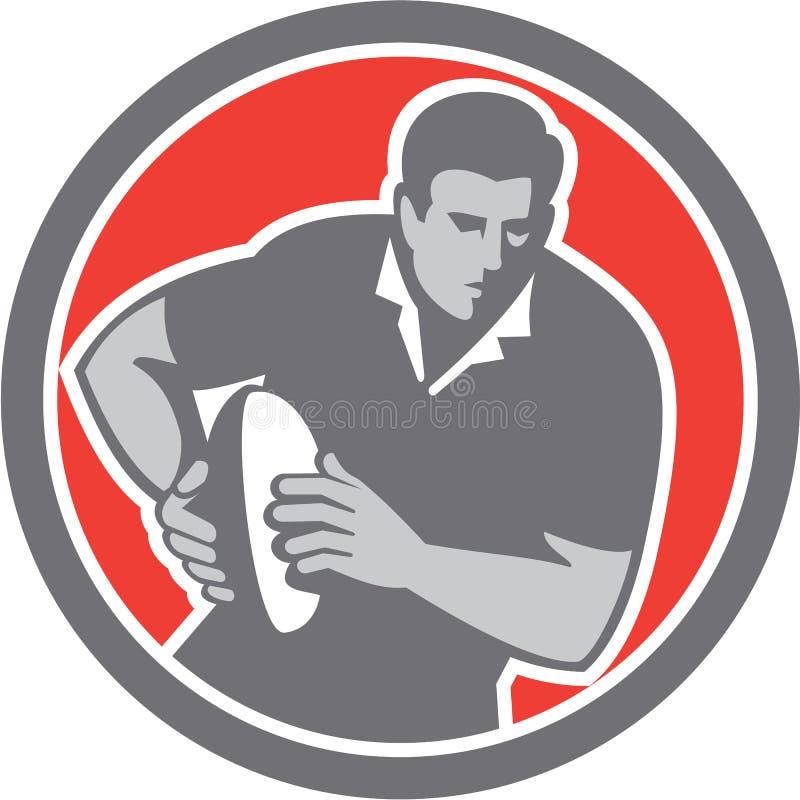 Retro cirkel för boll för rugbyspelarespring vektor illustrationer