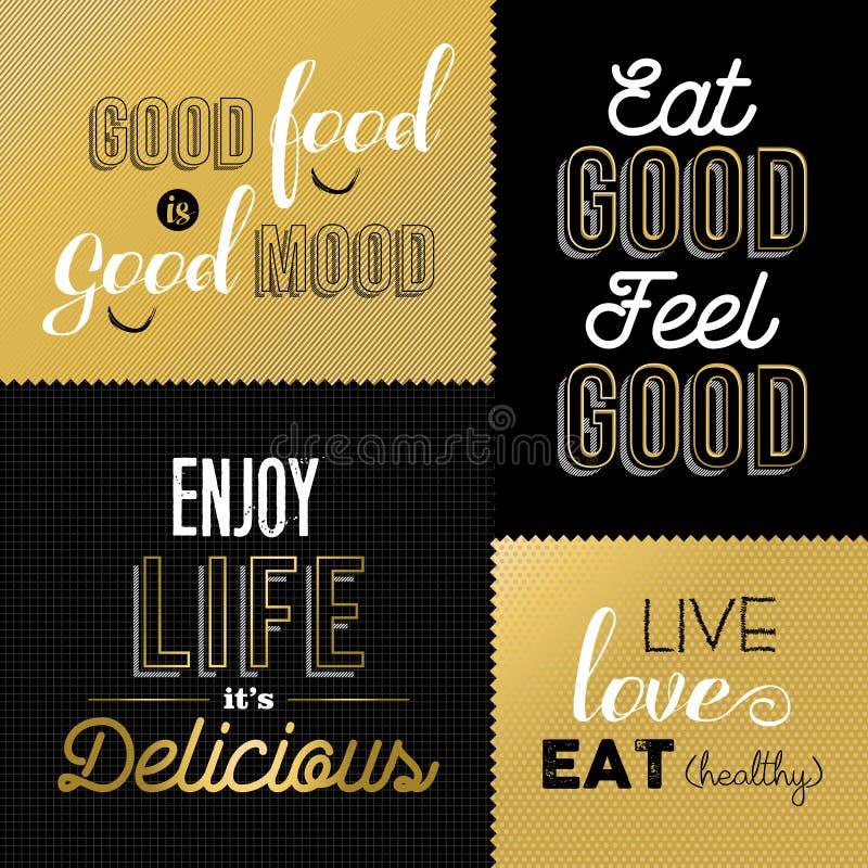 Retro citaten van het stijlvoedsel in gouden kleur worden geplaatst die royalty-vrije illustratie