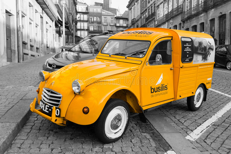 Retro Citroen 2CV car - cargo version - selective color isolation. Lateral view of a legendary, classic, retro Citroen 2CV AZU250 fourgonnette light commercial royalty free stock photography