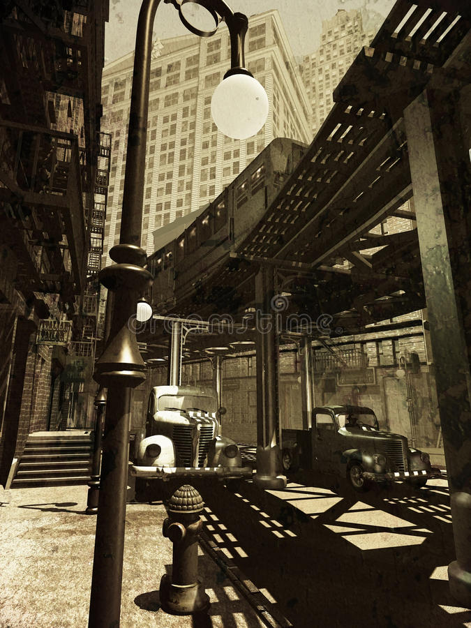 Retro city. Digital recreation of a city inspired on Manhattan as it was in the forties of the twentieth century, over grunge background. Street view under royalty free illustration