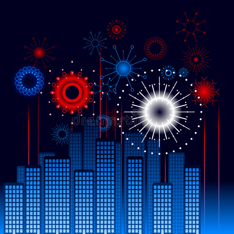 Download Retro city fireworks stock vector. Image of event, america - 9217779