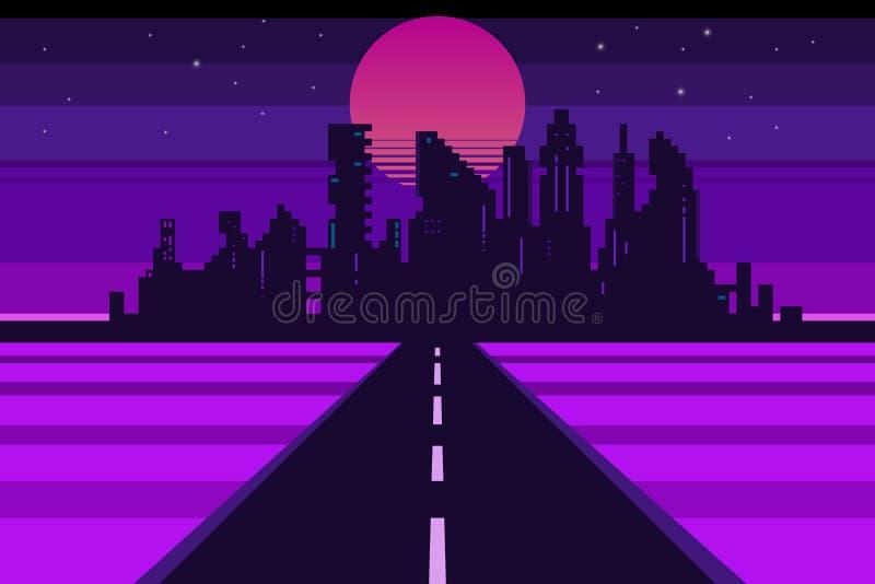 Retro city landscape, futuristic background vector illustration