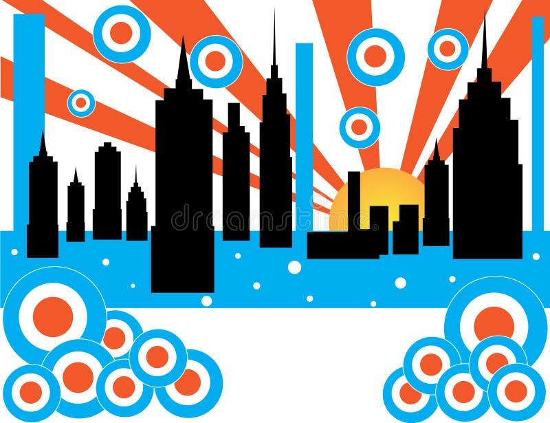 Download Retro City Sunrise stock vector. Illustration of stripes - 6196290