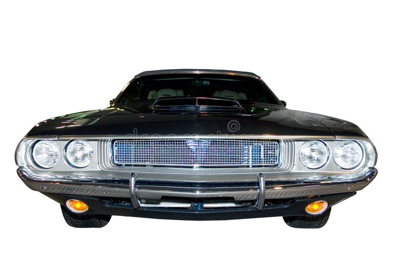 Retro Classic Dodge Challenger. Close-up look at the front end of a Retro Dodge Classic Dodge Challenger. Isolated on a white background with a clipping path stock photo