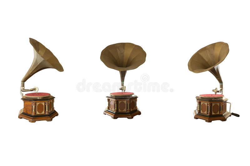 Retro classic gramophone for playing music isolated royalty free stock photos