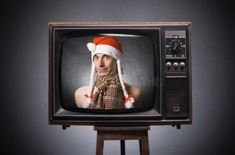 retro Claus życzenia Santa tv obraz stock