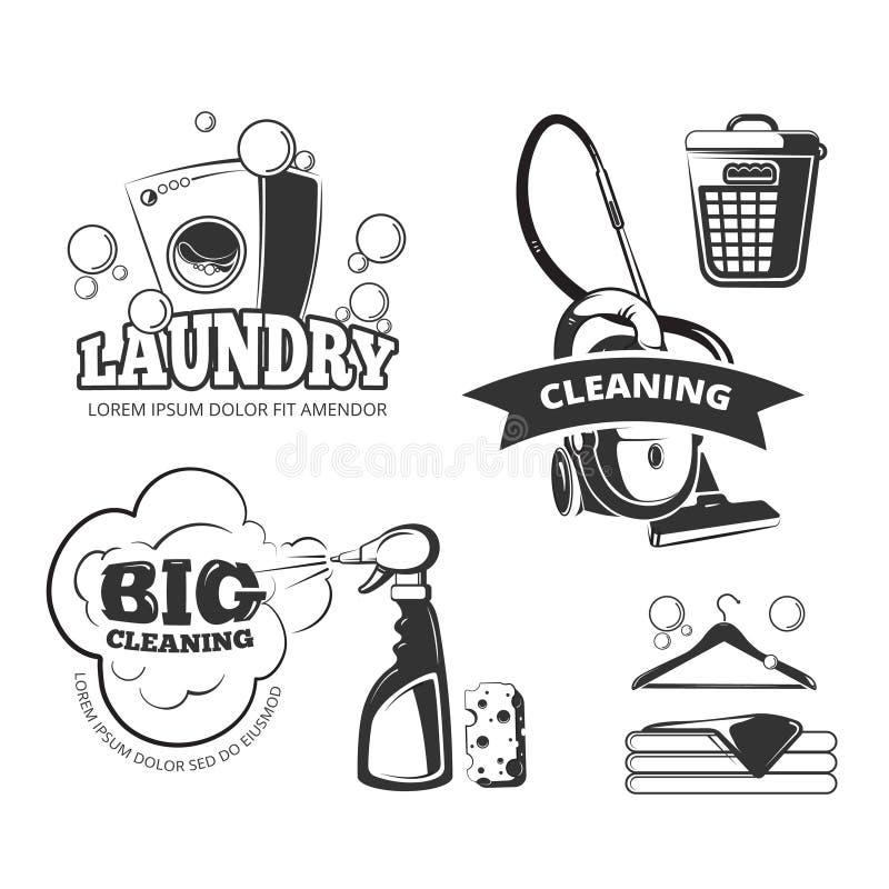 Retro cleaning i pralnianych usługa wektorowe etykietki, emblematy, logowie, odznaki ustawiać royalty ilustracja