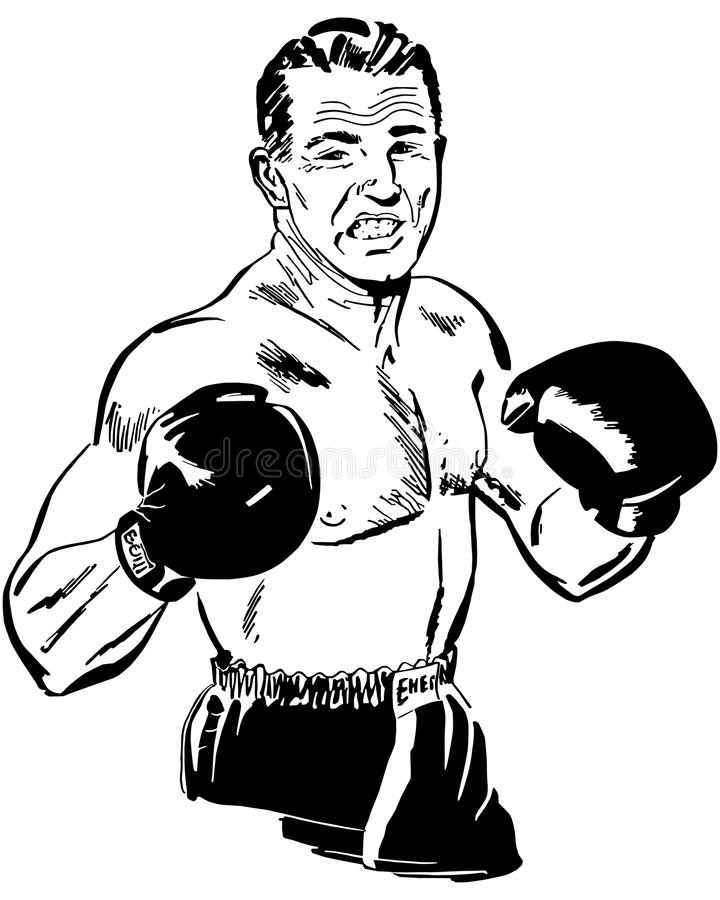 Professional Boxer. Retro Clip Art Illustration - Prize Fighter preparing to administer a knockout punch royalty free illustration