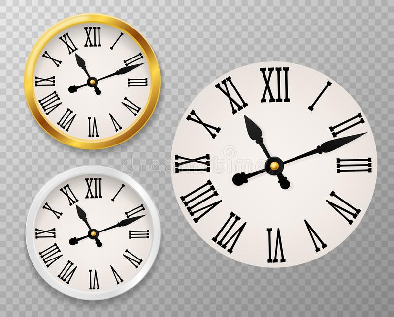 Retro clock face. Tower wall clocks with roman numerals and antique classic hands in golden and white round watch case. Vector rounded new 3d clocking decor set vector illustration