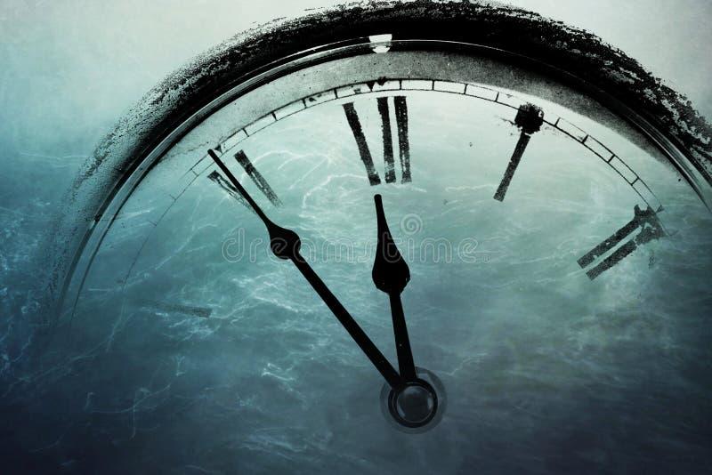 Retro clock with five minutes before twelve stock illustration