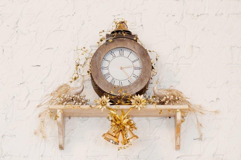 Retro clock with peacock. Wall. Decor in restaurant royalty free stock photos