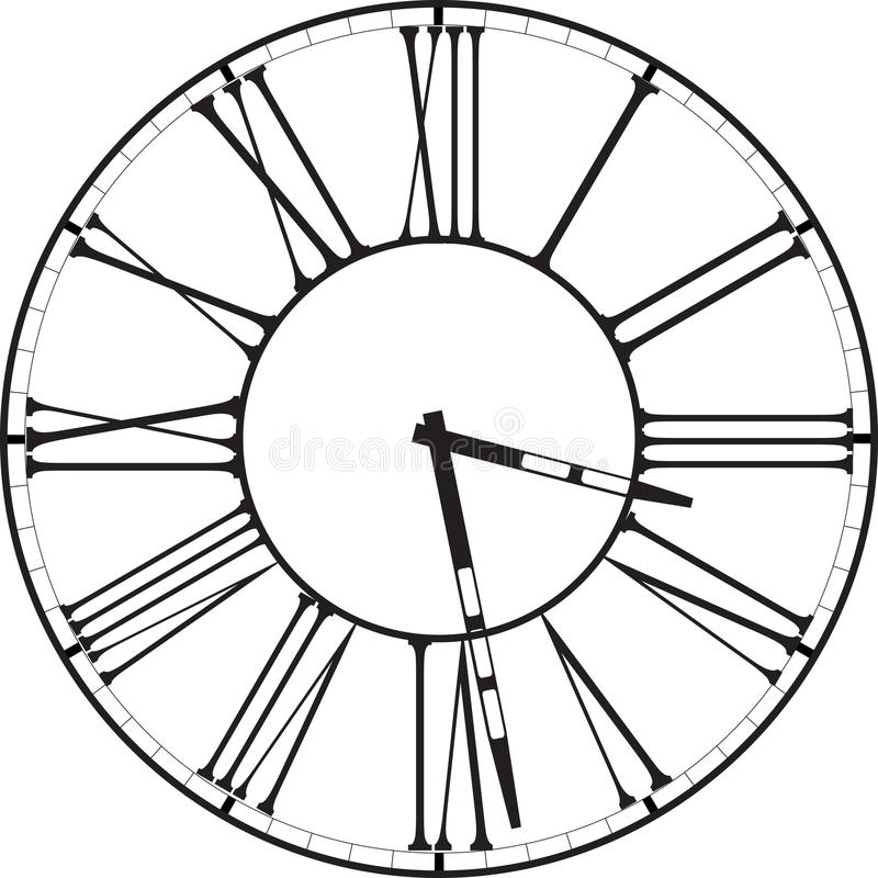 Retro clock with Roman Dial. Vintage clock face with Roman numerals vector illustration