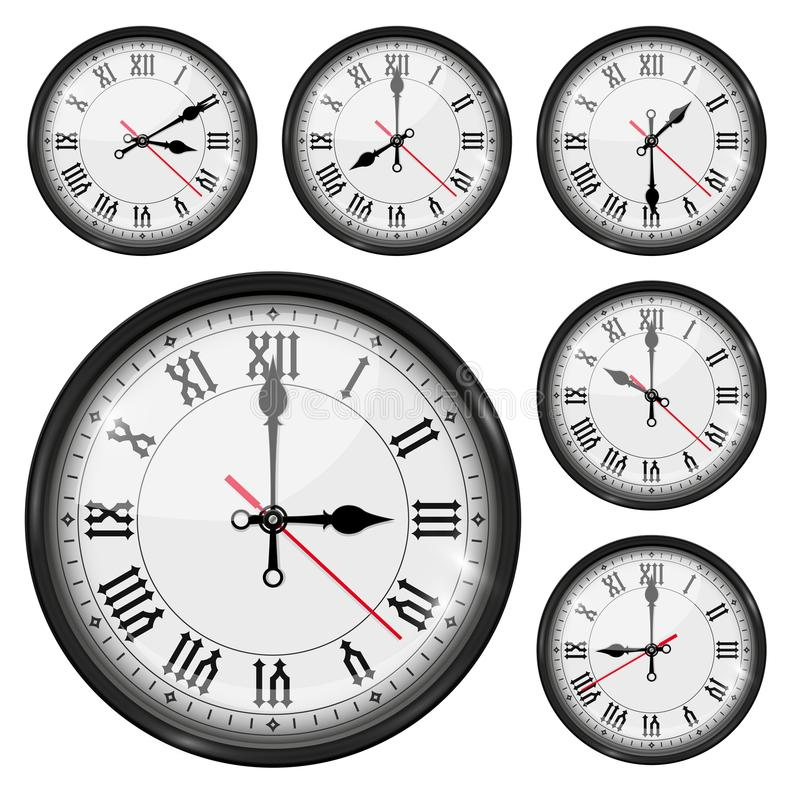 Retro clock with roman numerals and vintage hour and minute hand. Collection vector illustration