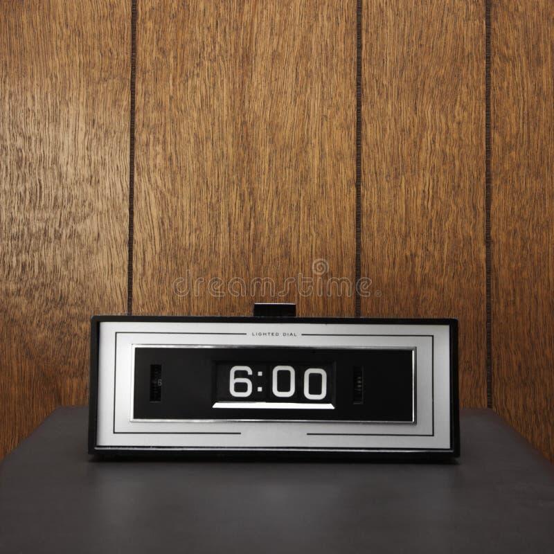 Retro clock set for 6:00. royalty free stock image