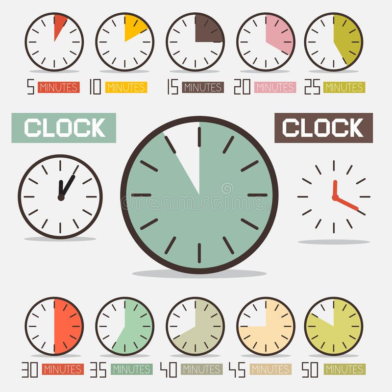Retro Clock - Time Countdown Vector Set. Isolated on White Background royalty free illustration