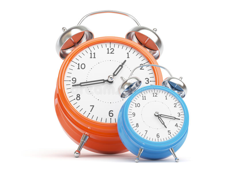 Retro Clocks. Orange and Blue Retro Clocks isolated on white Background stock illustration