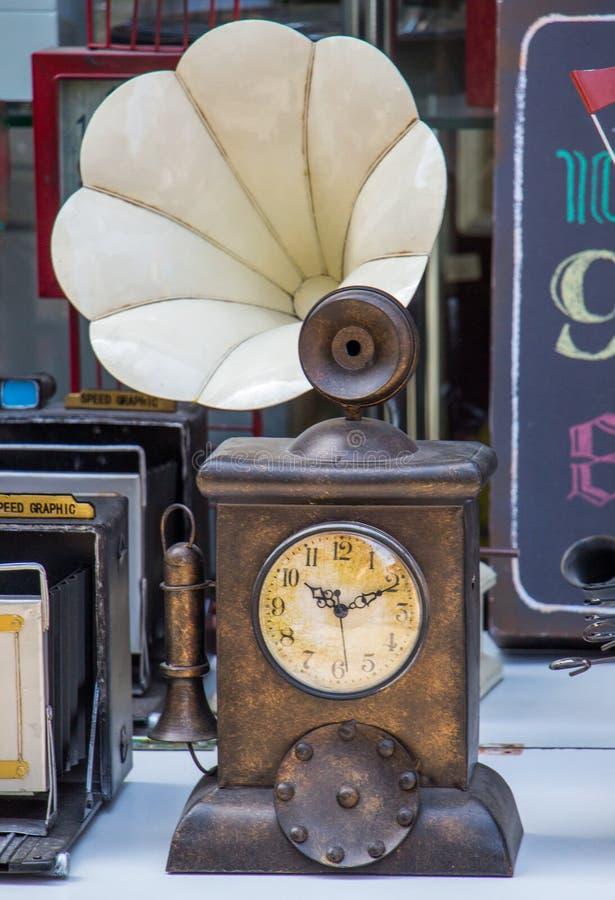 Retro clocks and mechanism stock photo