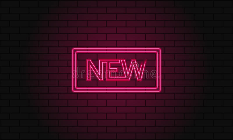 Retro club inscription New. Vintage electric signboard with bright neon lights. Pink light falls on a brick background. Vector ill. Retro club inscription New stock illustration