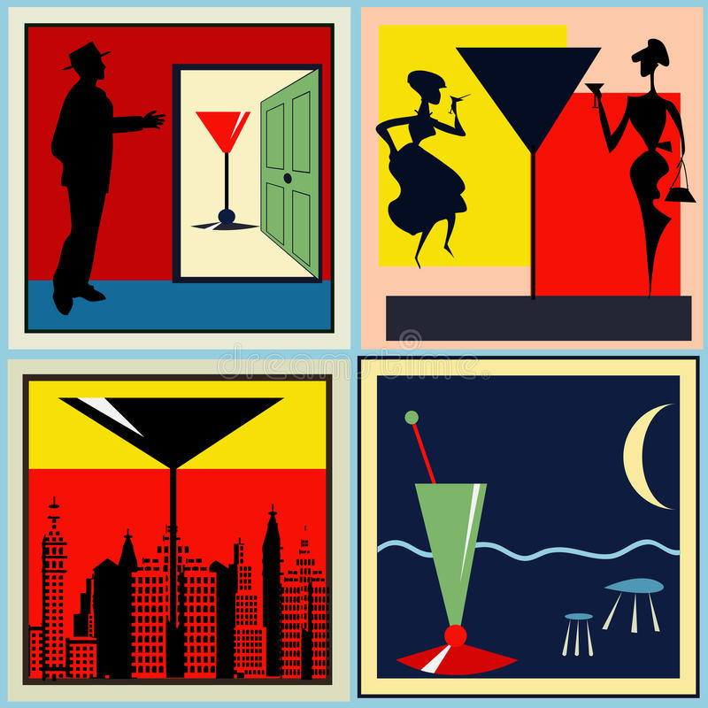 Download Retro Cocktail labels stock vector. Image of event, martini - 24240592
