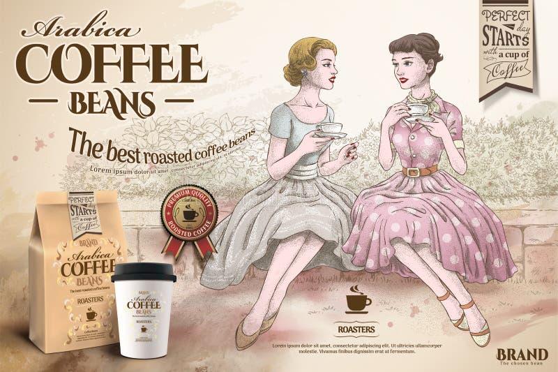 Retro coffee beans ads royalty free illustration