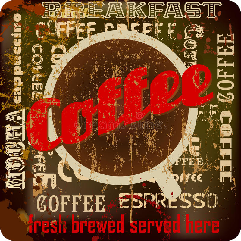 Retro coffee sign royalty free illustration