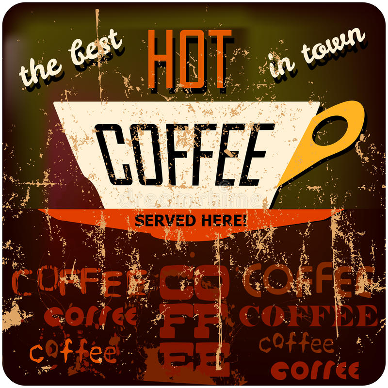 Retro coffee sign vector illustration