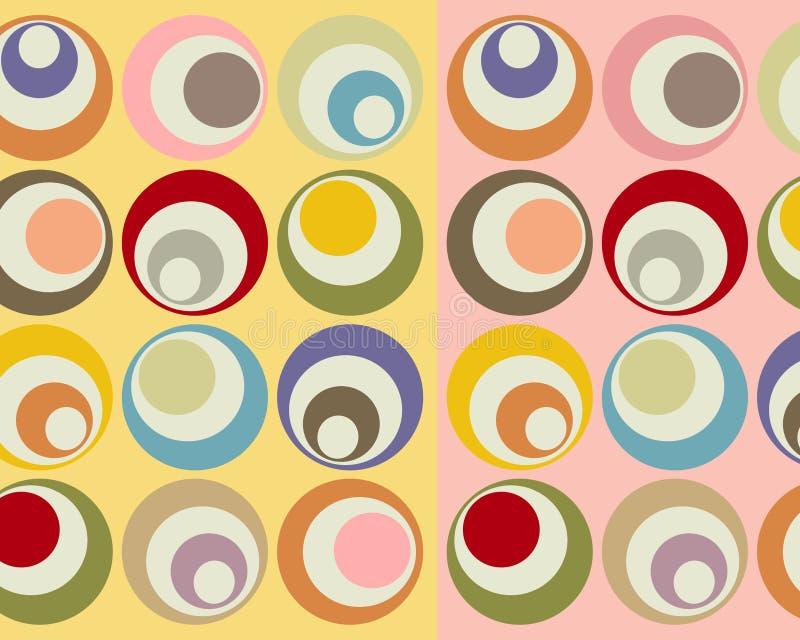 Retro collage variopinto dei cerchi illustrazione di stock