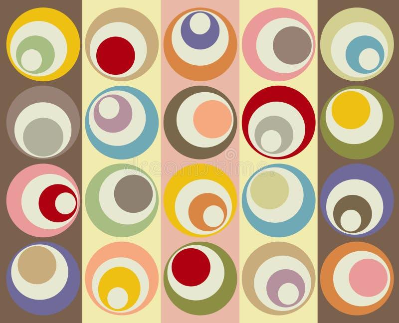 Retro collage variopinto dei cerchi illustrazione vettoriale