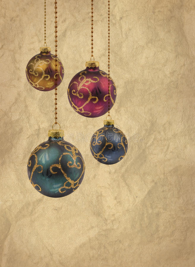 Retro color Christmas balls card royalty free stock images